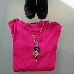 Lands' End Pink Fuchsia Long Sleeve Shirt XS
